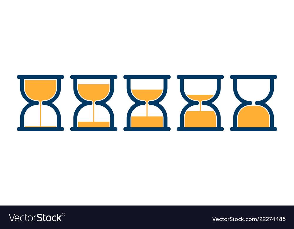 Transparent sandglass icons set time hourglass