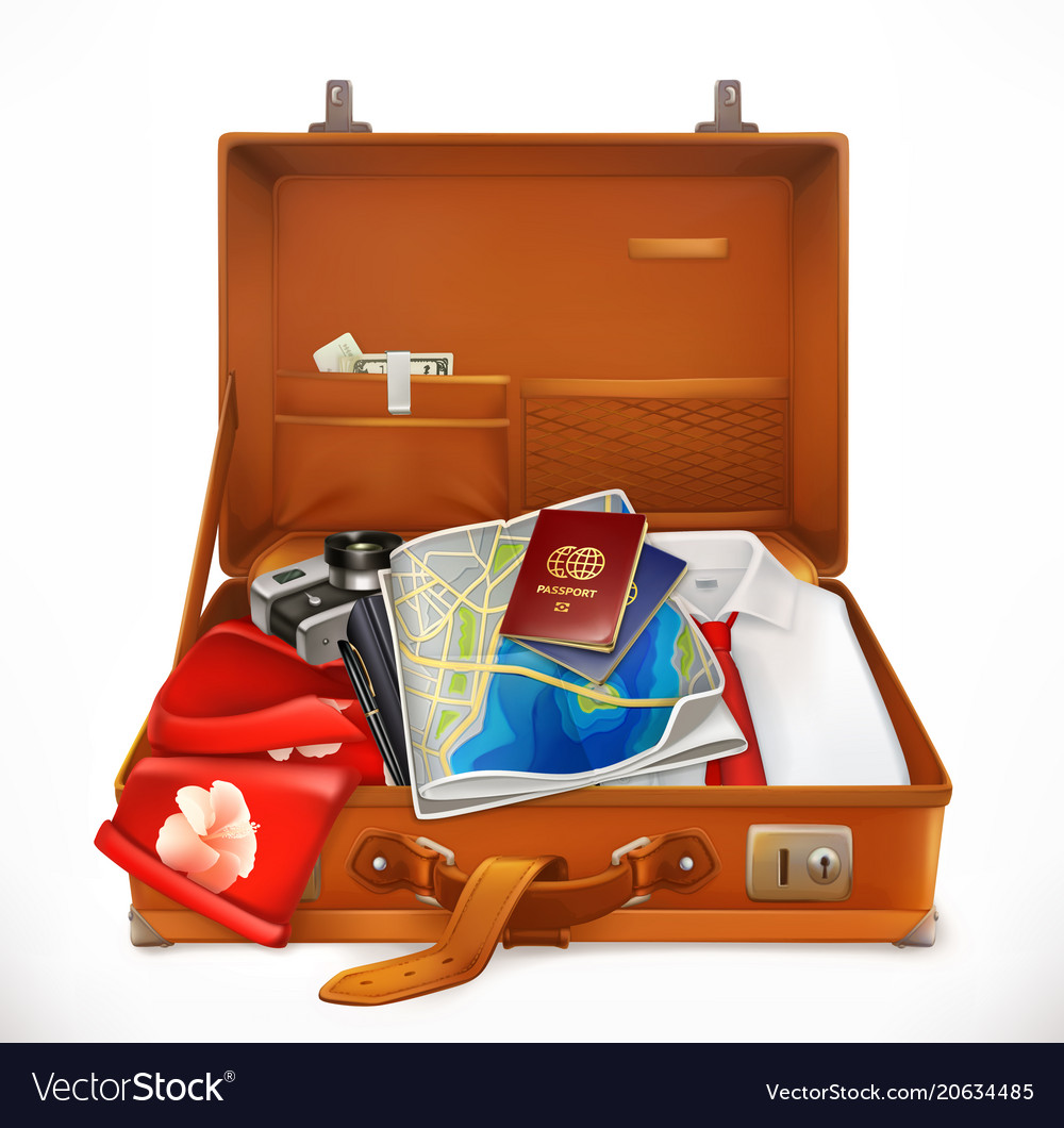 Travel open suitcase 3d icon vector image