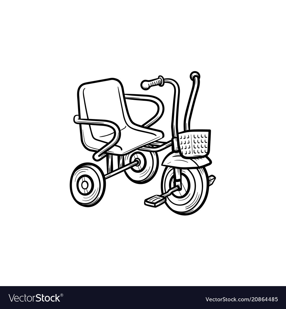 Tricycle hand drawn outline doodle icon