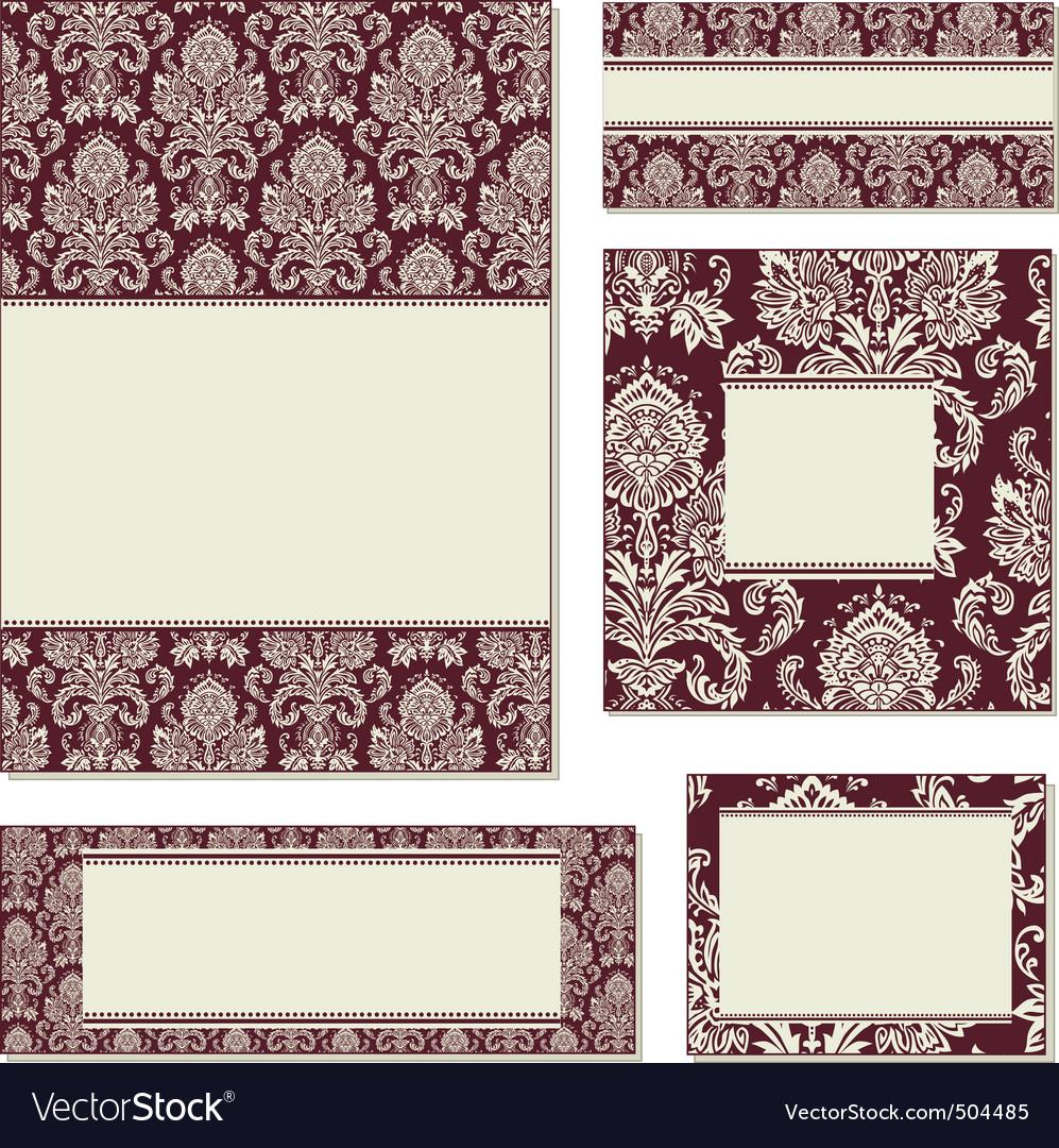 Vector ornate damask frame set