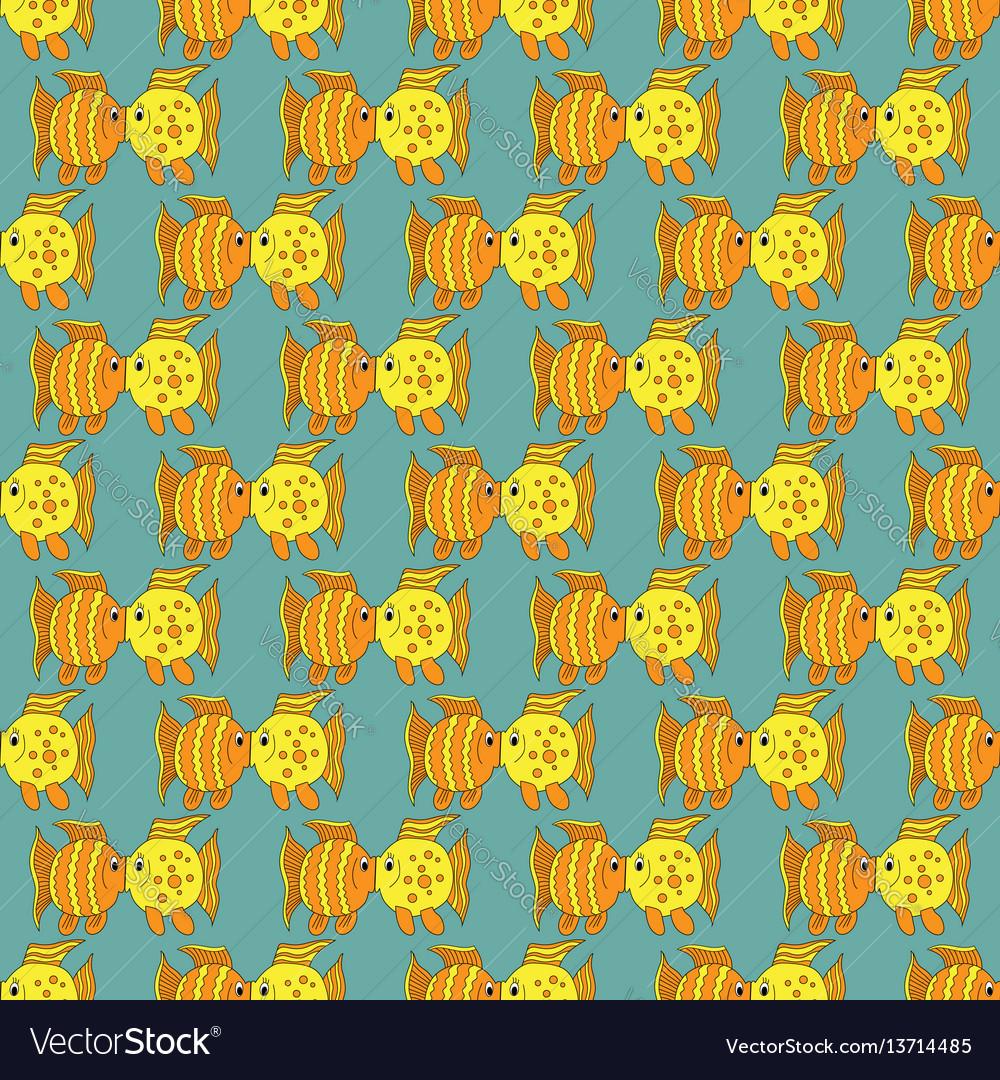 Yellow funny fish seamless pattern