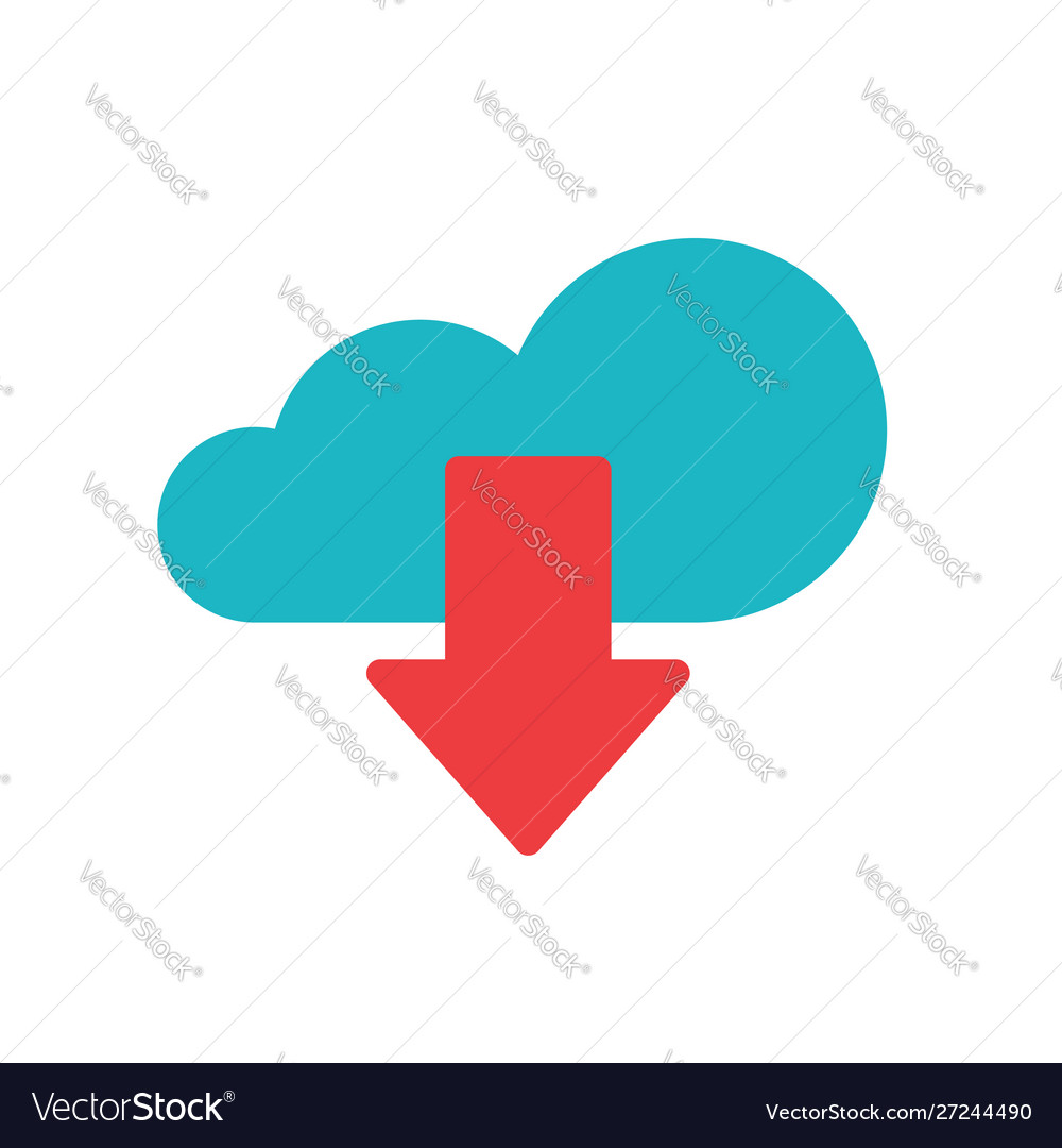Cloud download icon flat cartoon blue