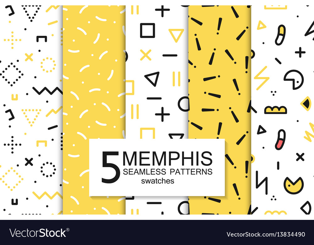 Collection swatches memphis patterns - seamless