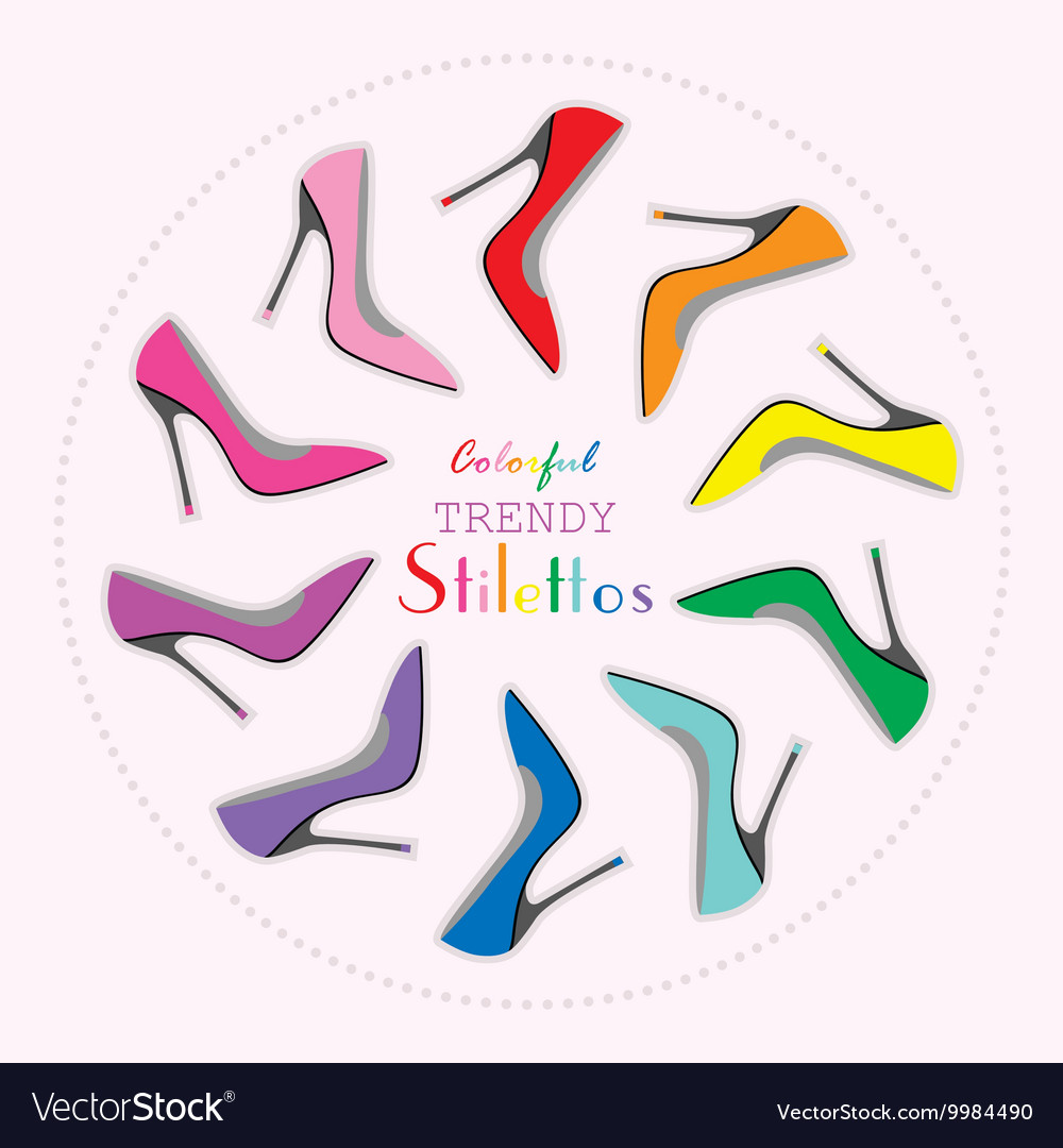 Colorful stiletto high heels set in circle layout
