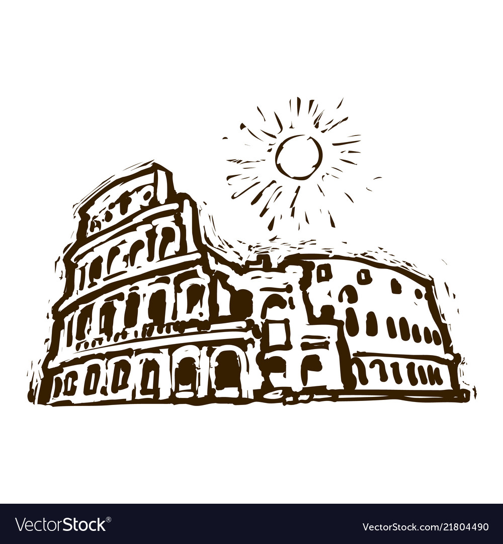 Colosseum in rome italy hand drawn sketch
