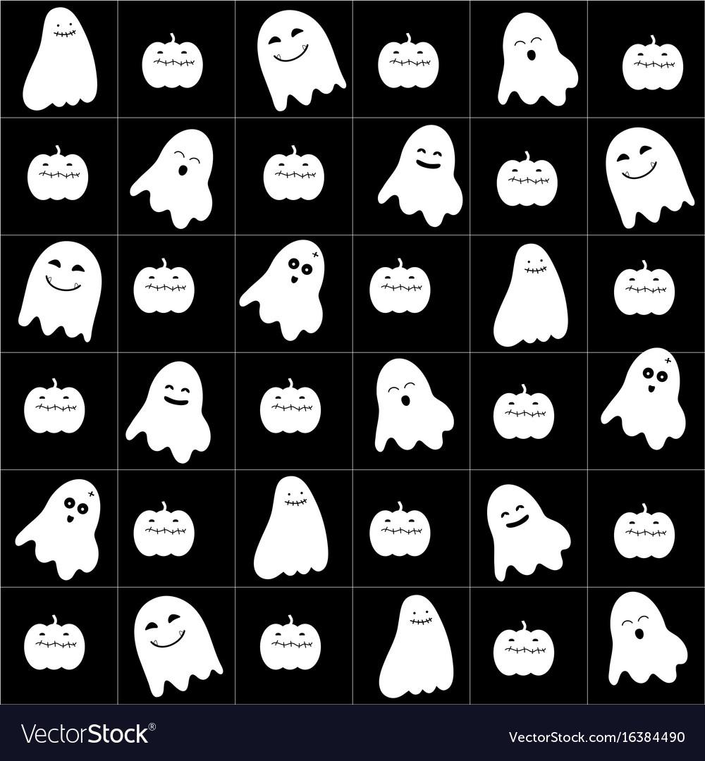 Cute cartoon ghost pattern vector image
