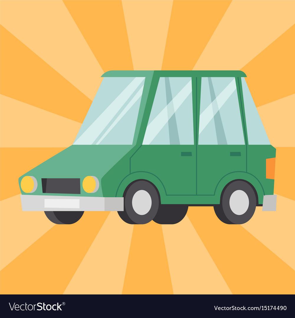 Flat green car vehicle type design sedan style