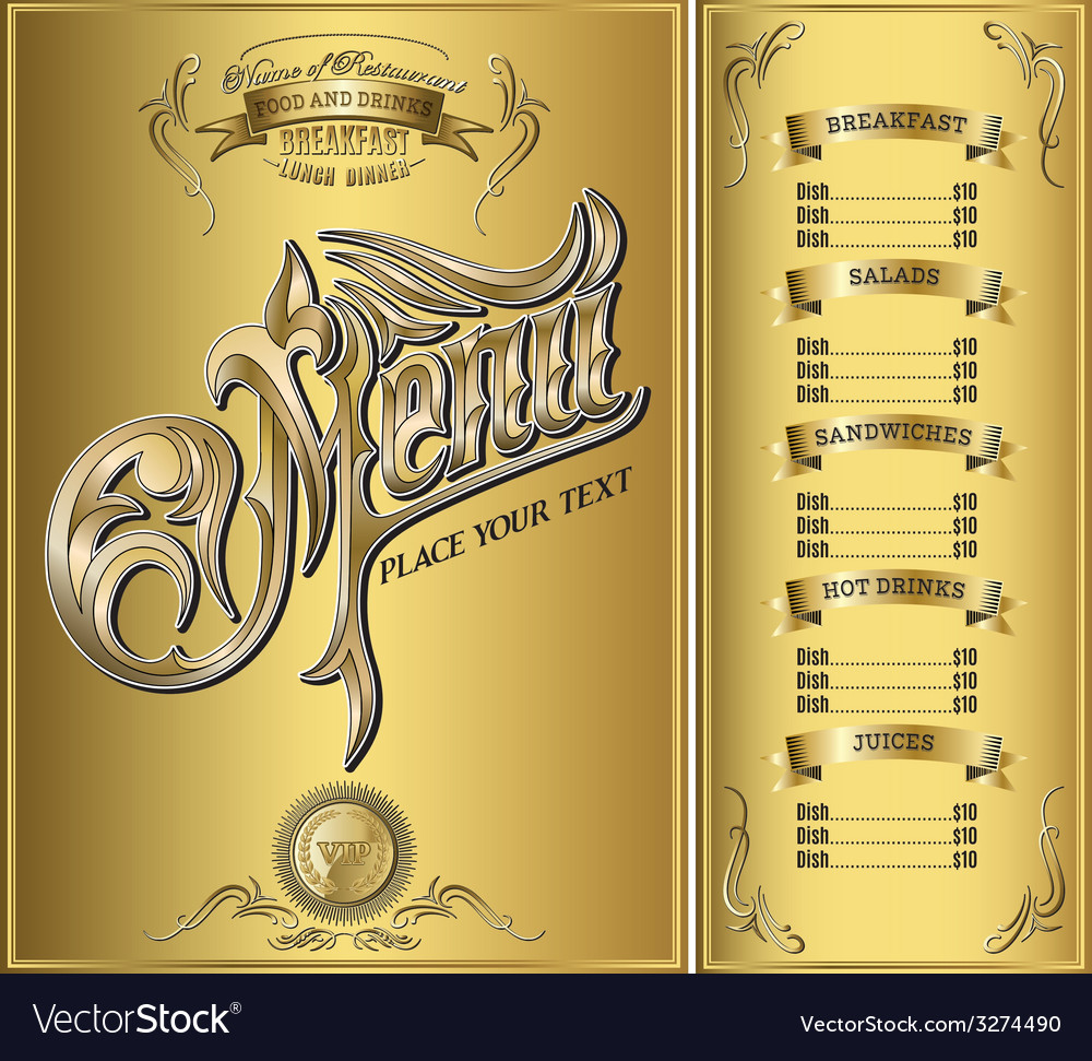 Gold template for the cover of the menu
