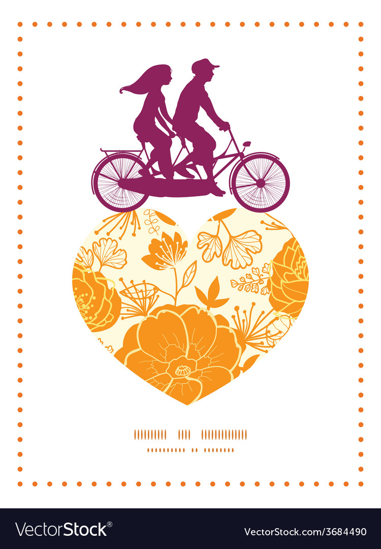 Golden art flowers couple on tandem bicycle heart