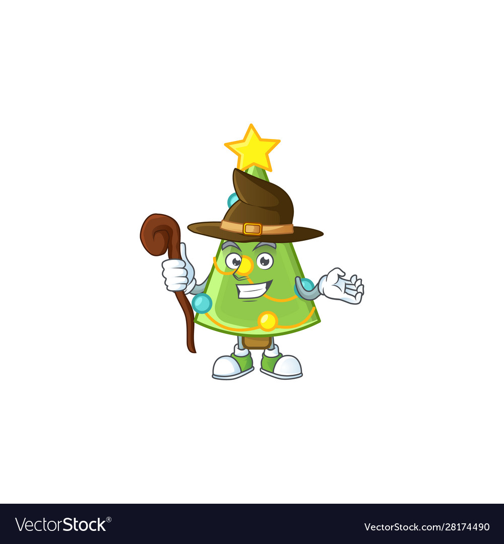 Happy Halloween Witch Christmas Tree Decoration Vector Image