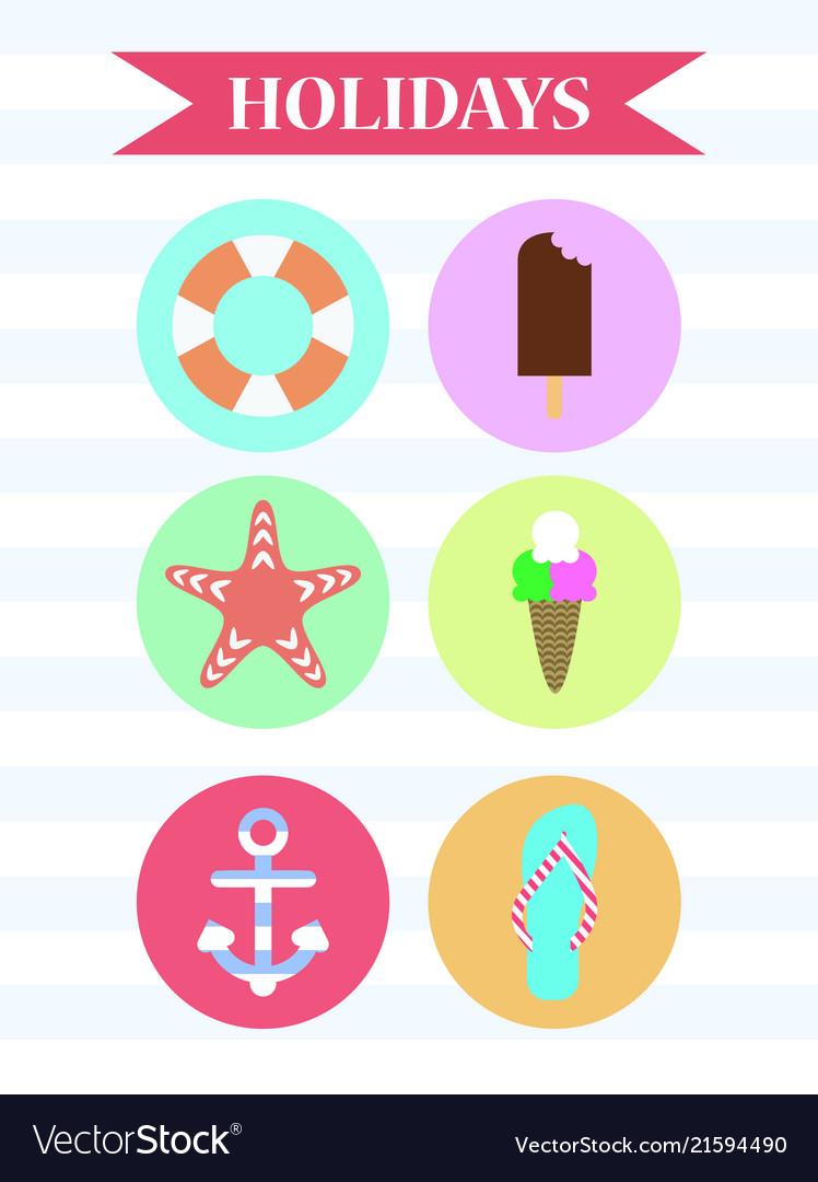 Icon set holidays ice cream anchor