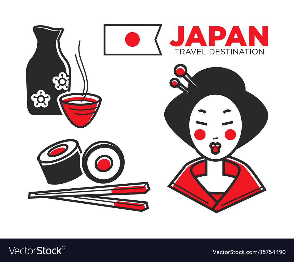 Japan culture food and travel symbols or famous