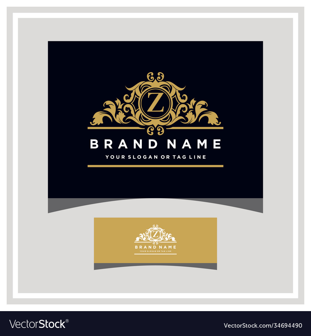 Letter z logo design concept royal luxury gold