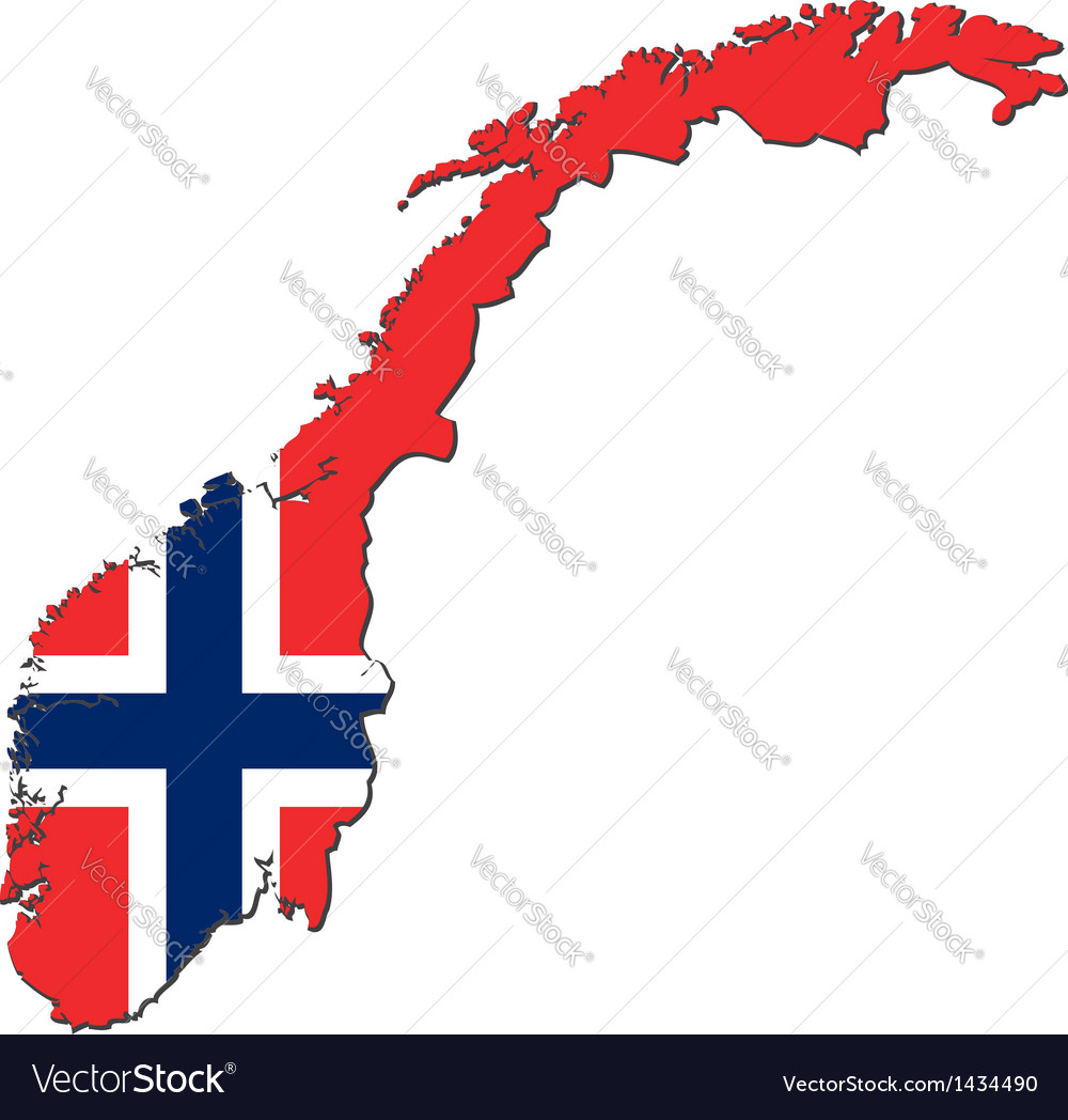 Map of Norway with national flag Royalty Free Vector Image