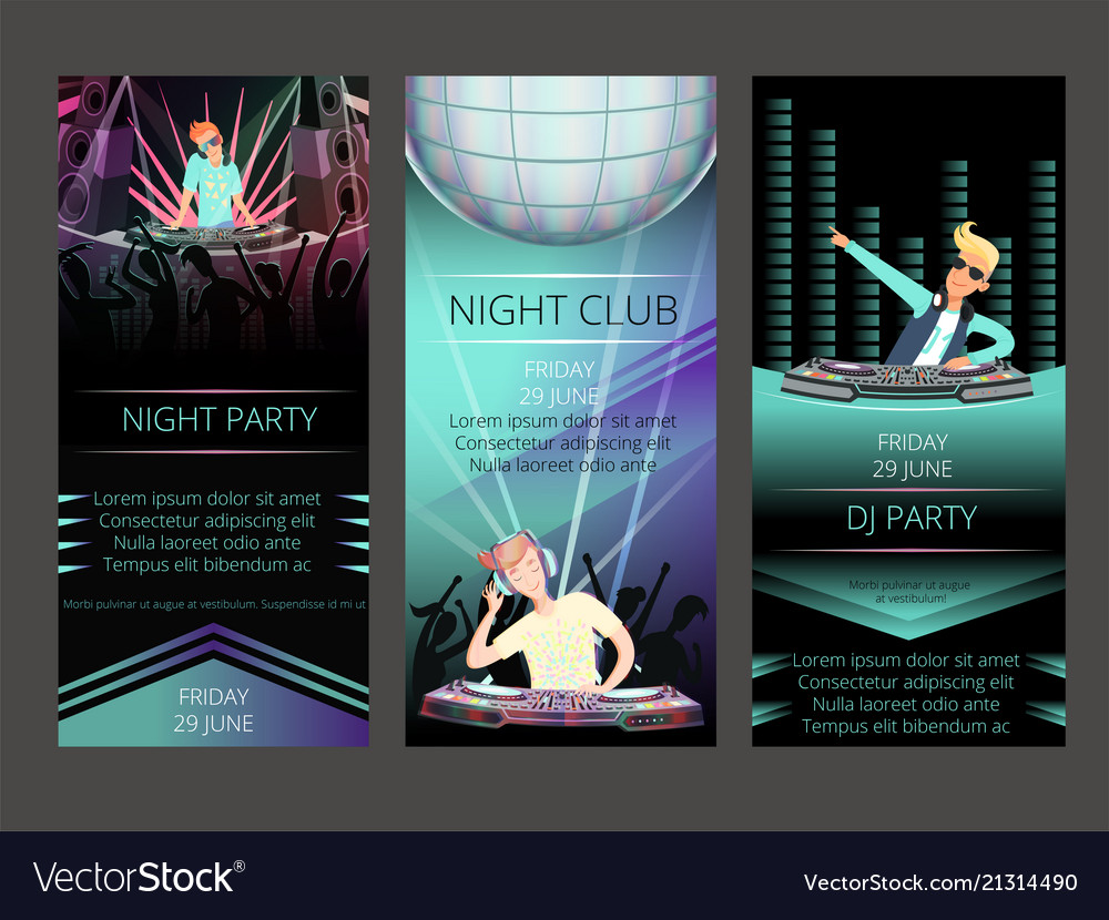 Night club invitation cards dj party