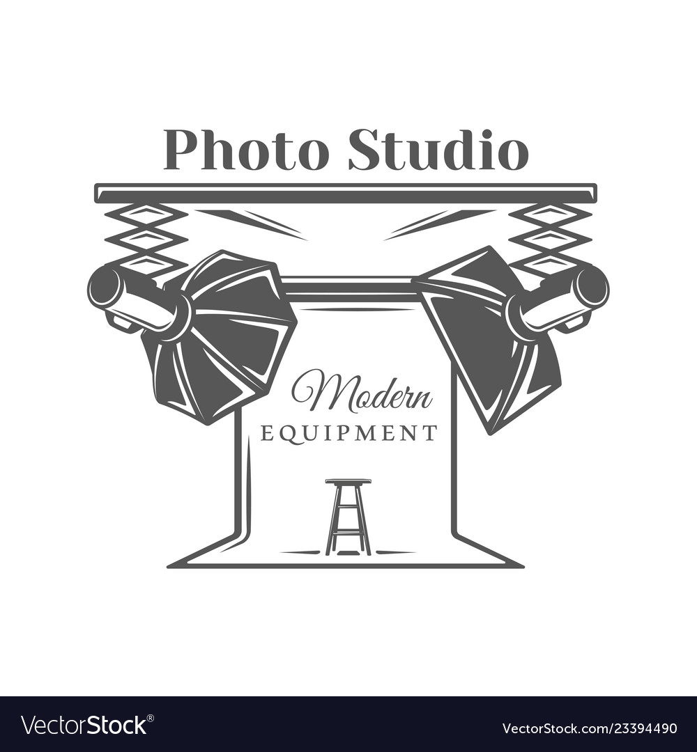 Photo studio label isolated on white background