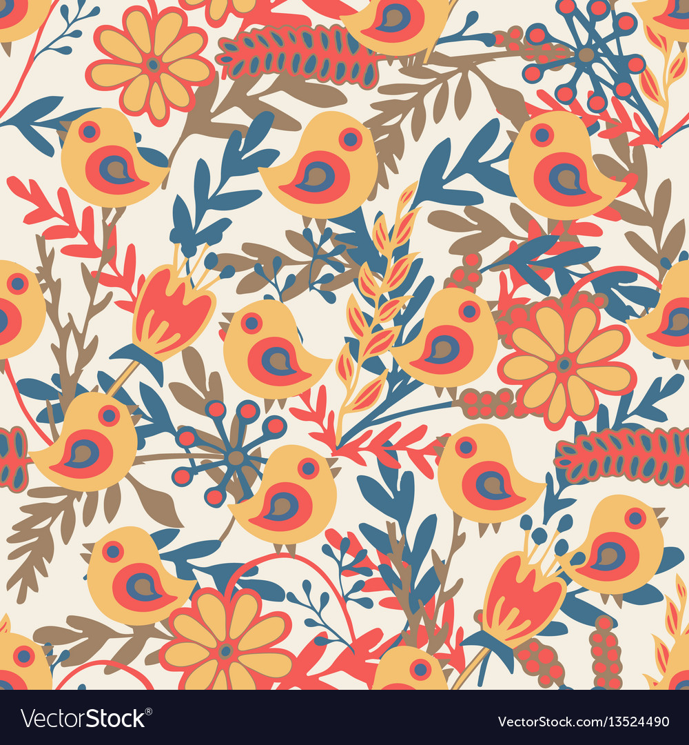 Seamless pattern with hand drawn birds and