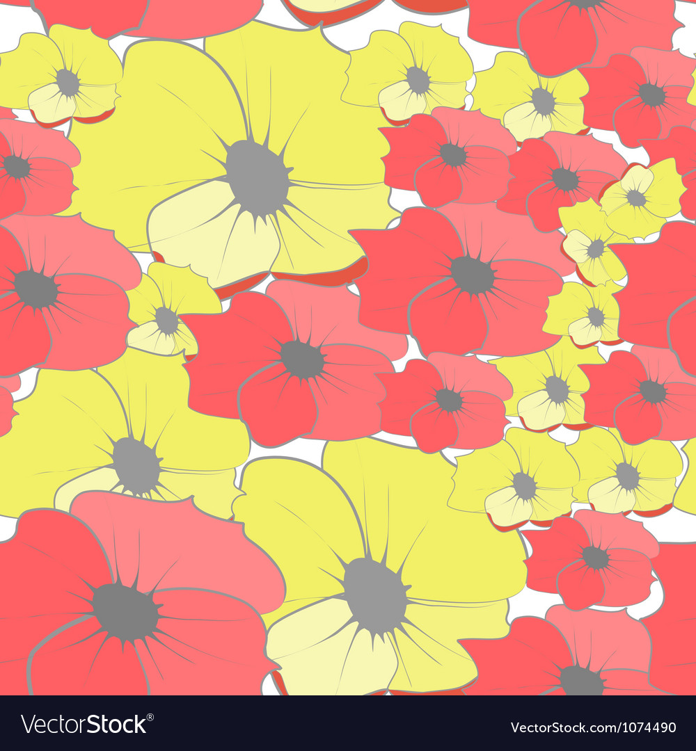Seamless wallpaper with cartoon style flowers vector image