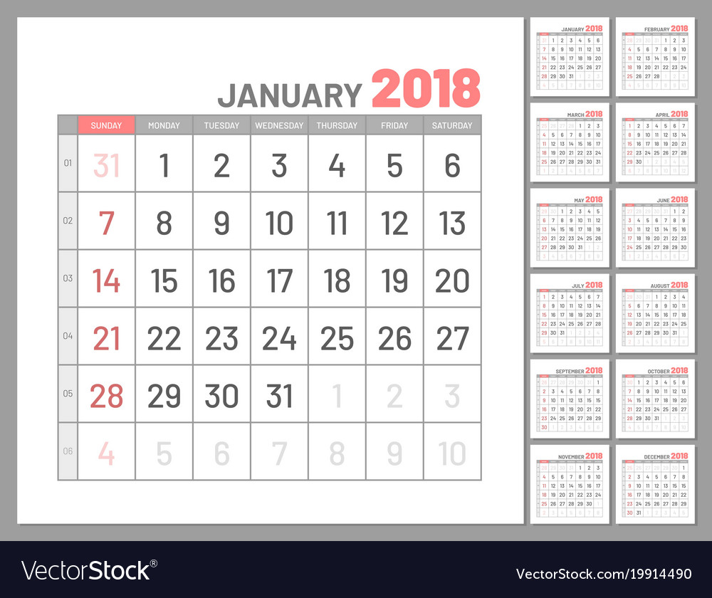 Set identical planners 2018 january separately