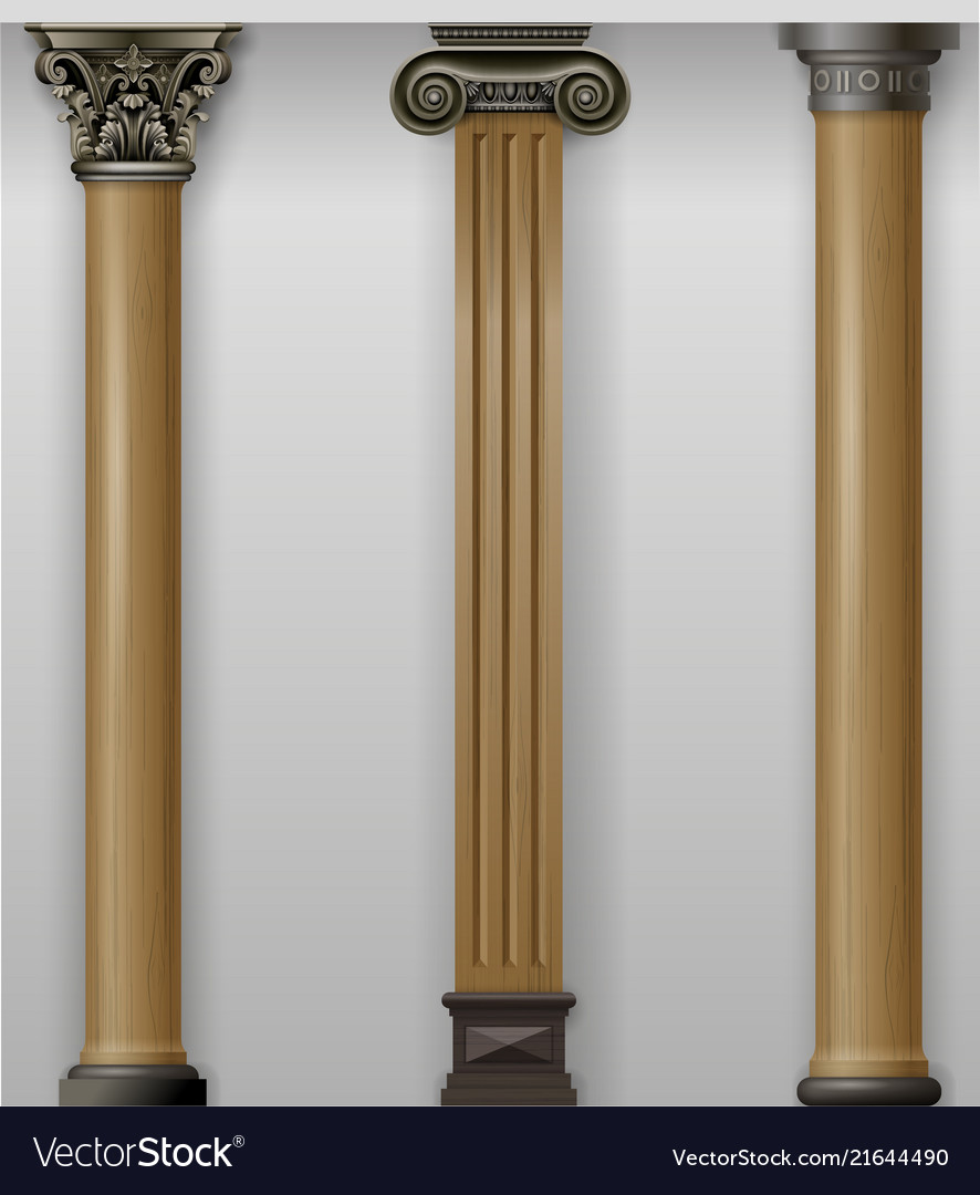 Set vintage classic wood carved columns on wall