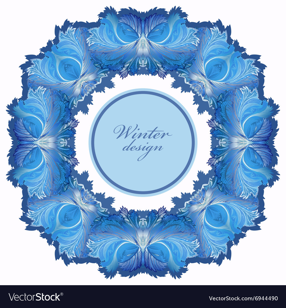 Winter frozen glass frame Blue wedding frame Vector Image