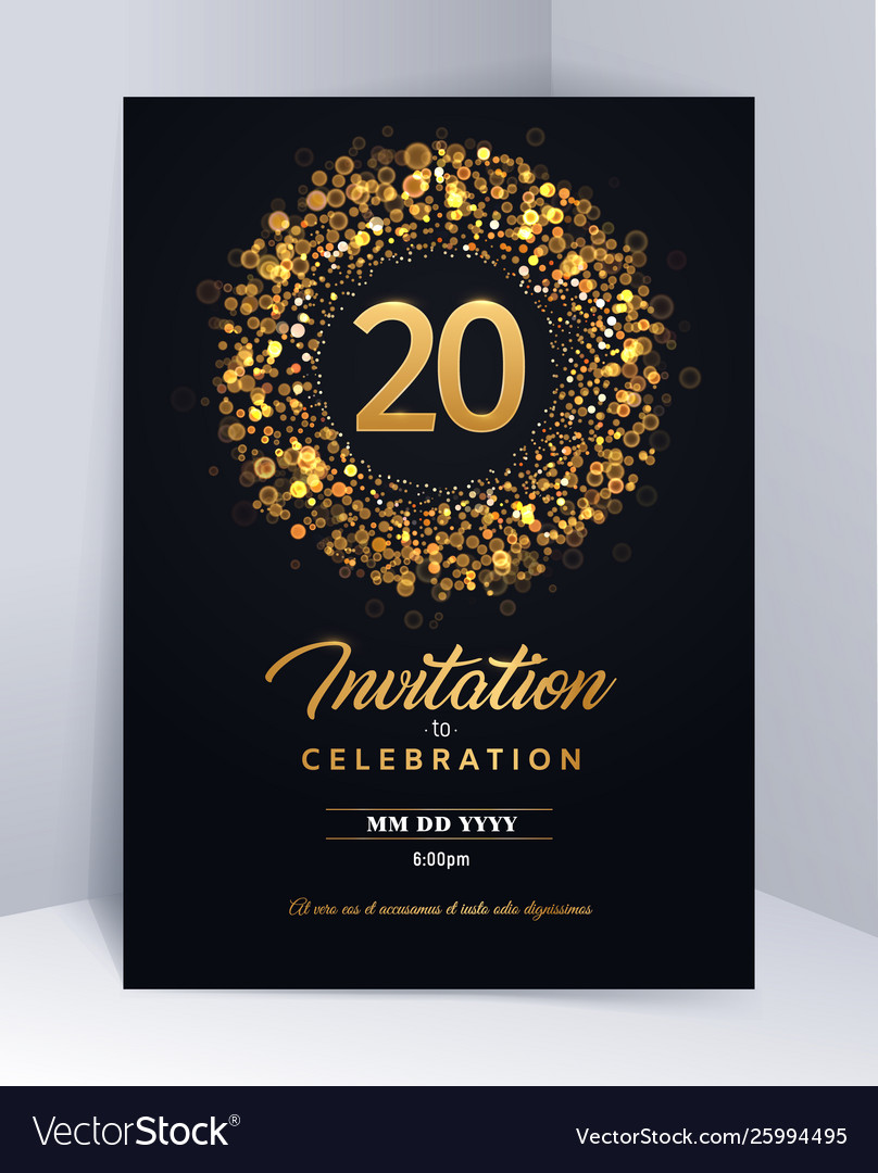 20 years anniversary invitation card template Vector Image