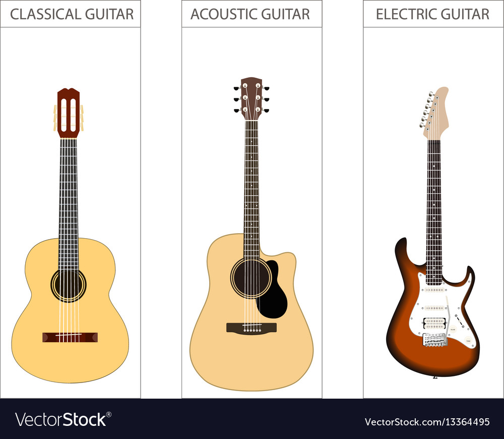 Acoustic electric and classical guitar set
