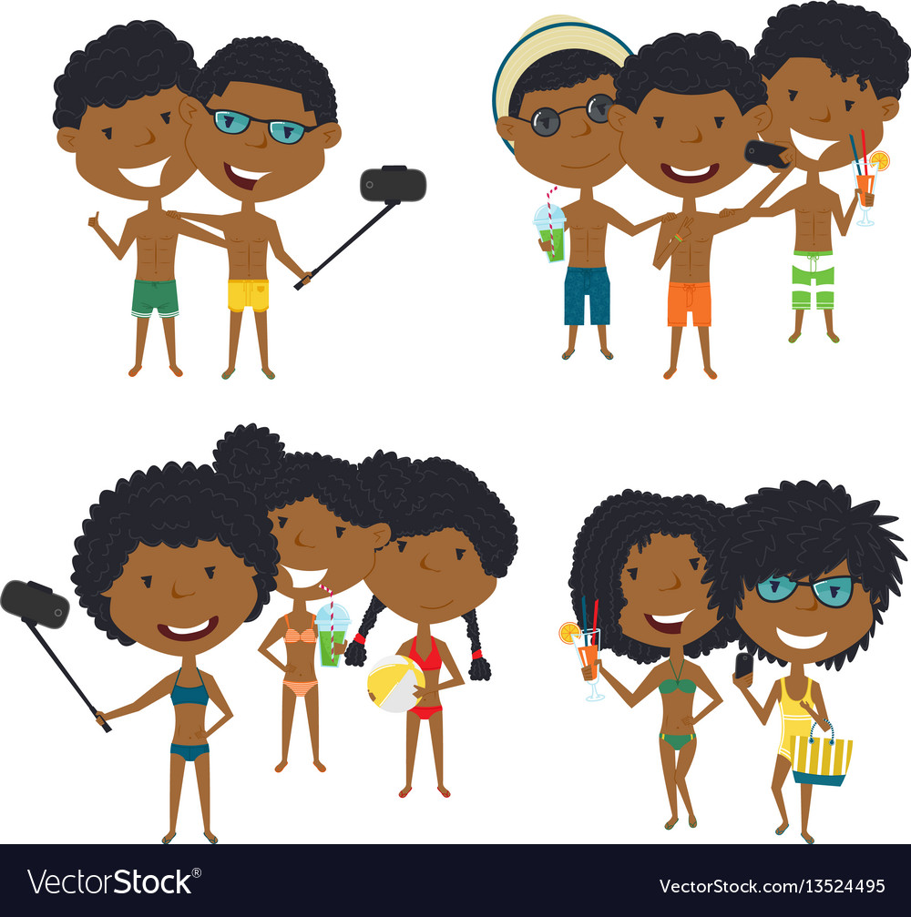 Beach african-american male and female characters vector image