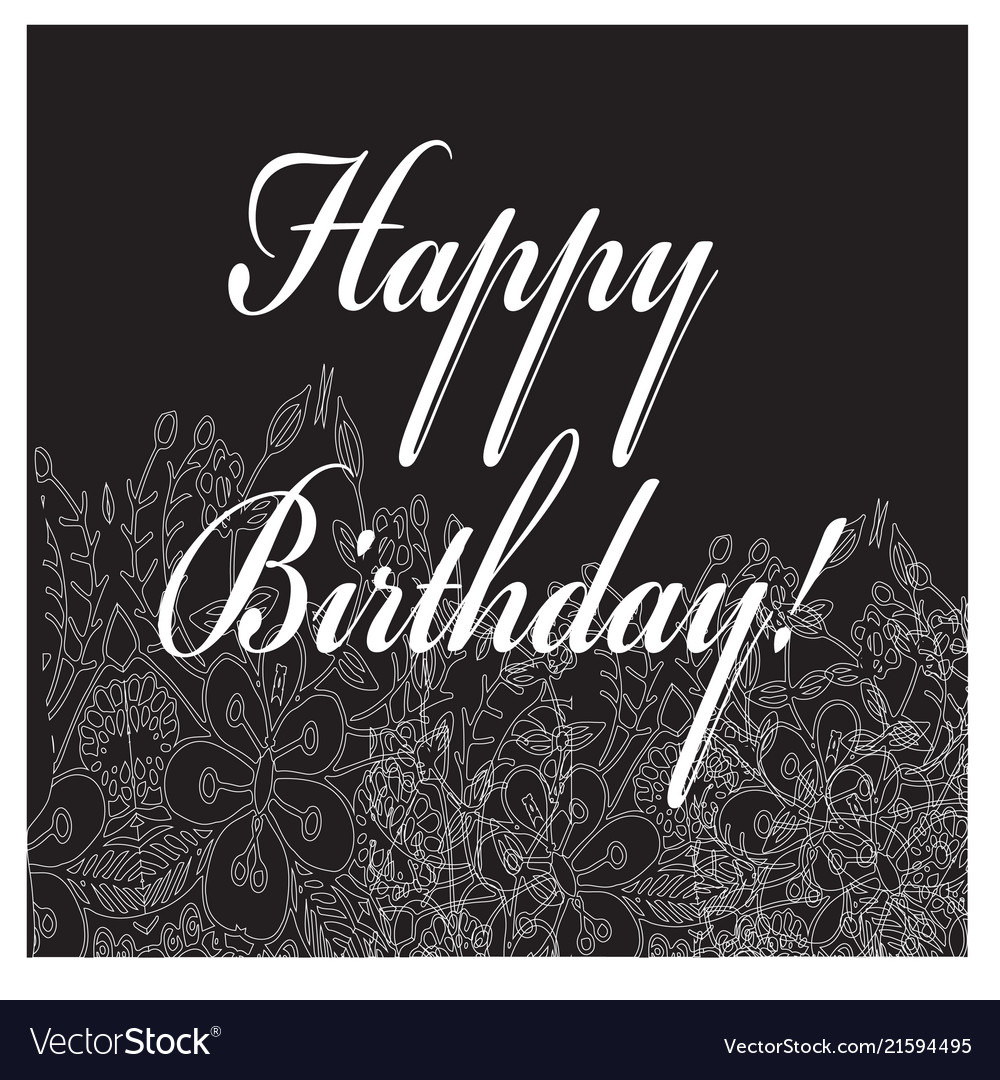 Birthday black-white card with flower ornament