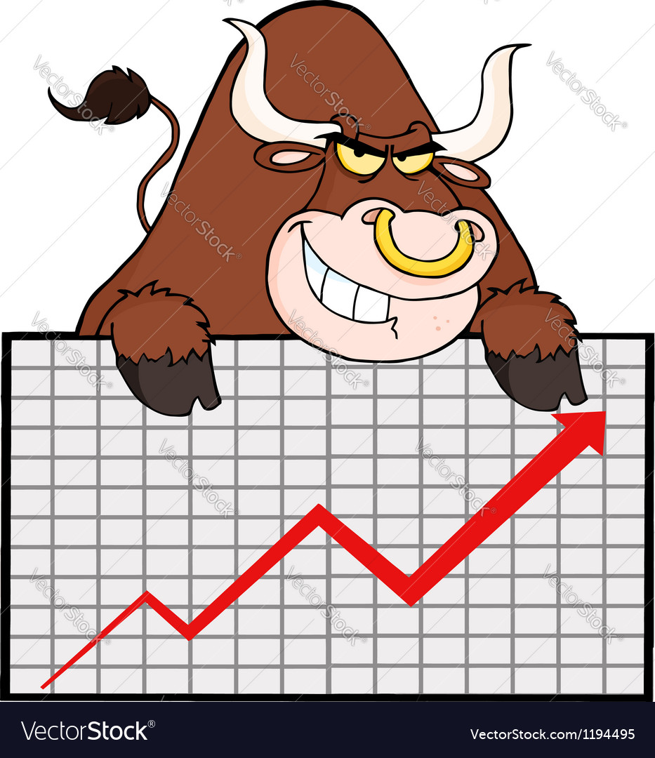 Brown Bull With Business Graph