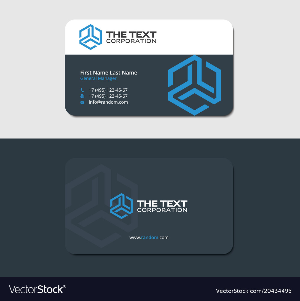 Dark business card template with blue hexagon vector image accmission Images