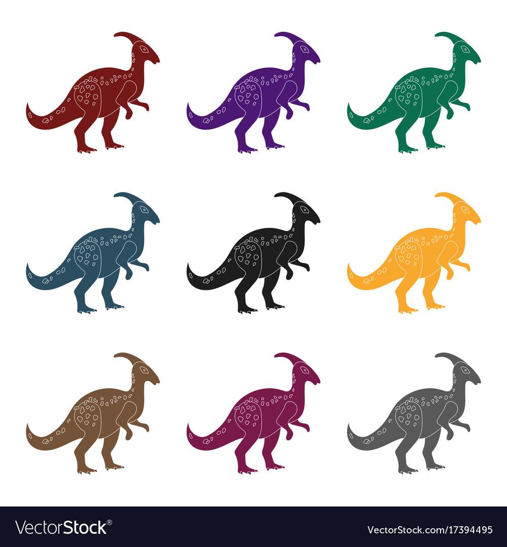 Dinosaur parasaurolophus icon in black style
