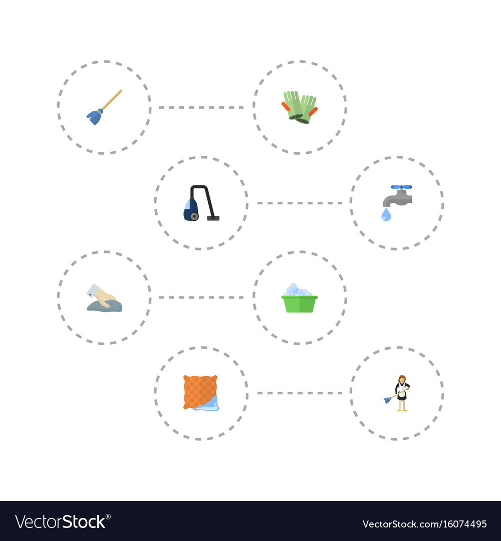 Flat icons sweeper gauntlet laundry and other vector image