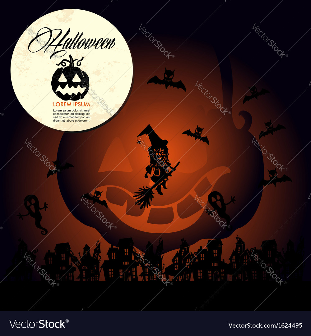 Halloween text full moon pumpkin flying witches
