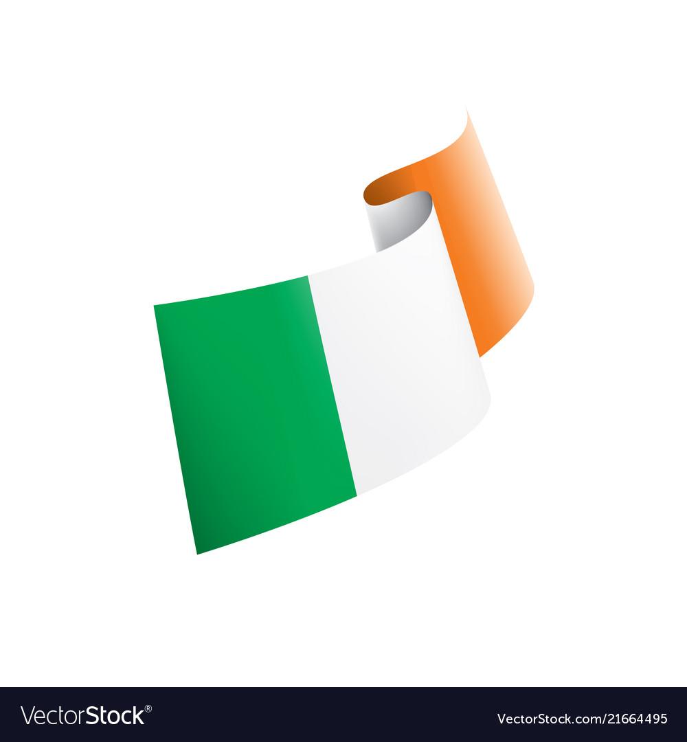Ireland flag on a white
