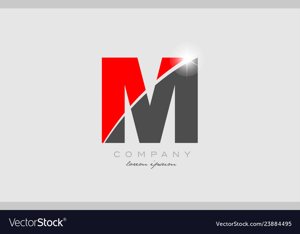 Letter M In Grey Red Color Alphabet For Logo Icon