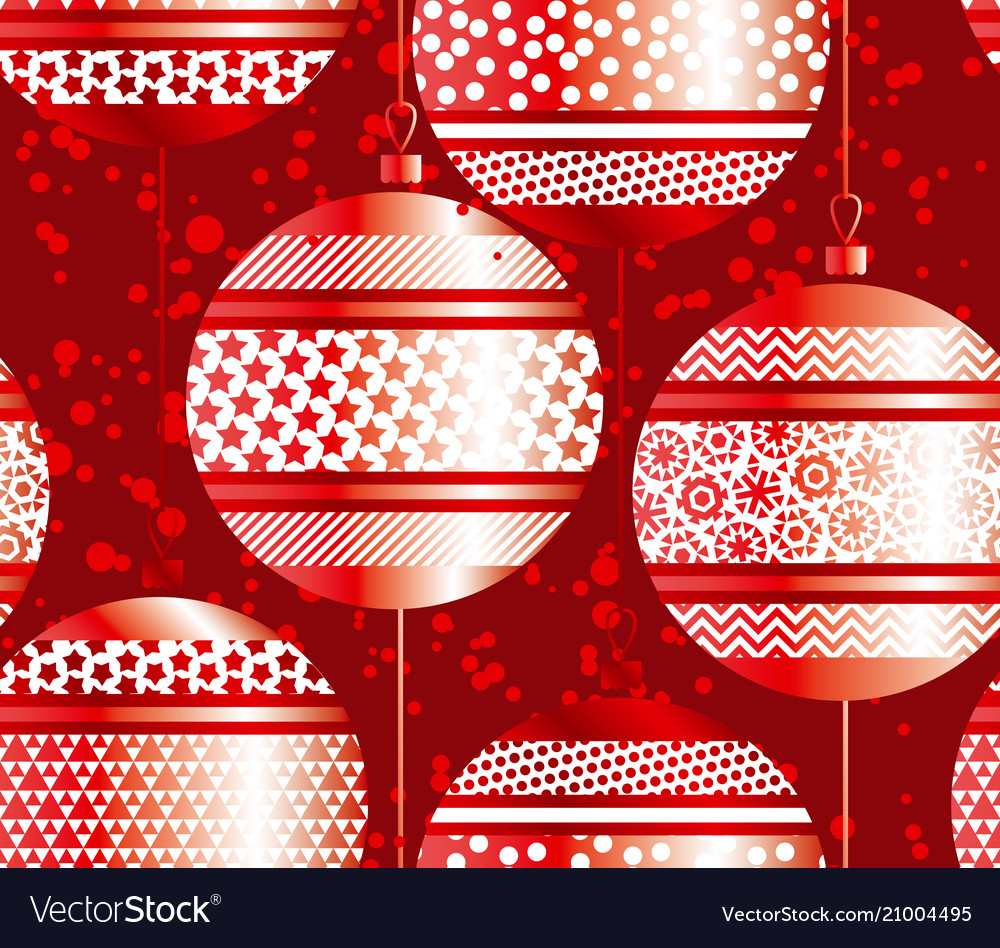 Luxury red xmas bubbles seamless pattern