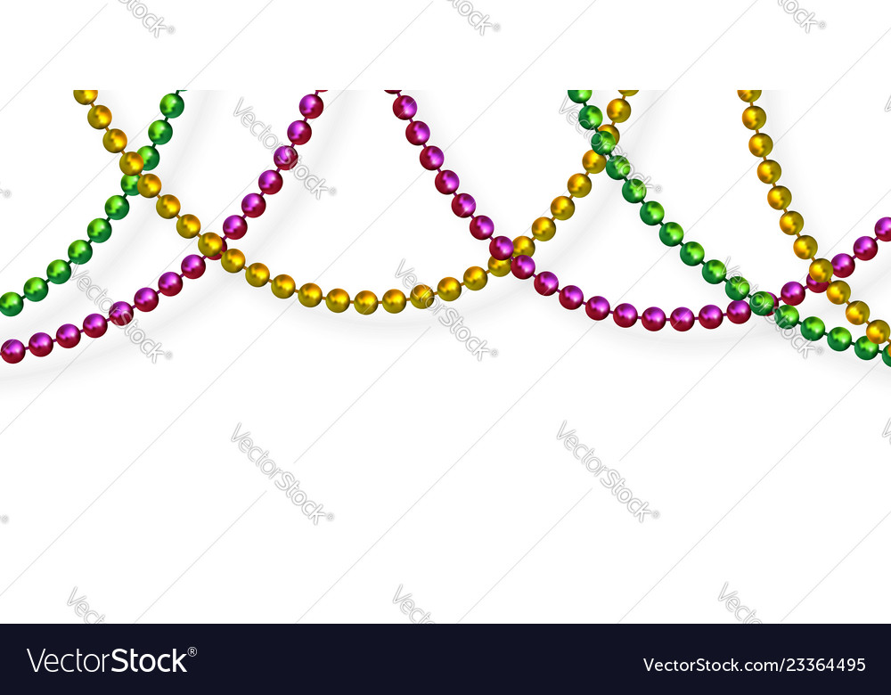 Mardi Gras Beads In Traditional Colors Royalty Free Vector