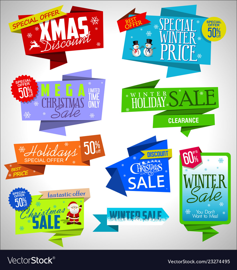 Modern sale origami christmas banners and labels