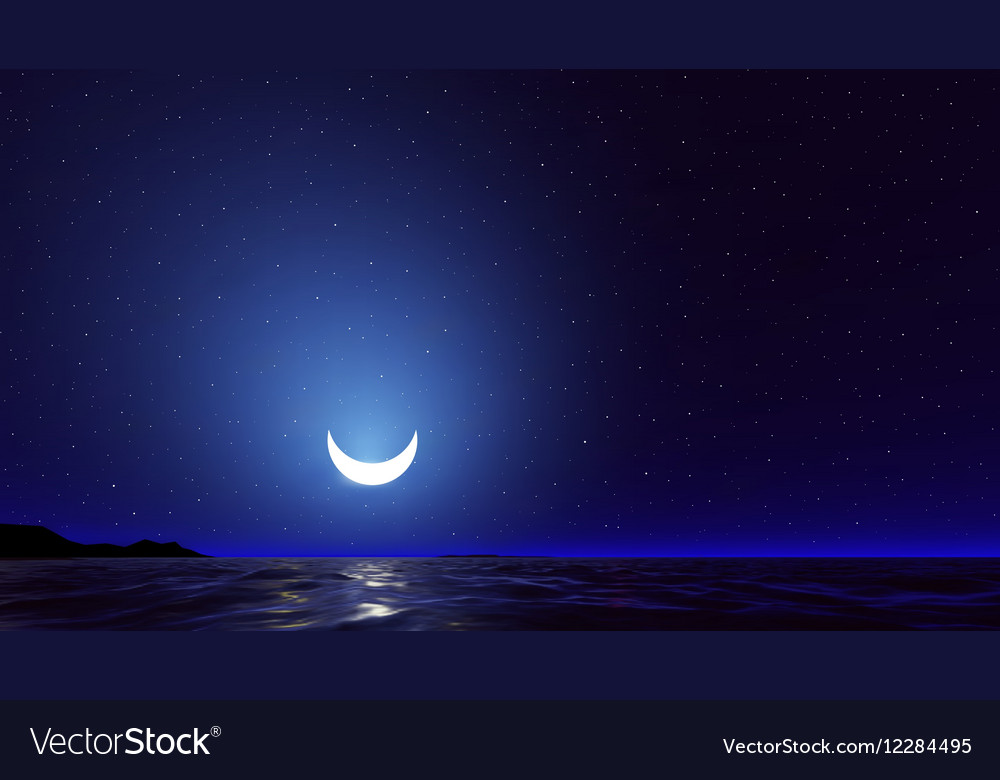 Night sky with ocean moon stars background