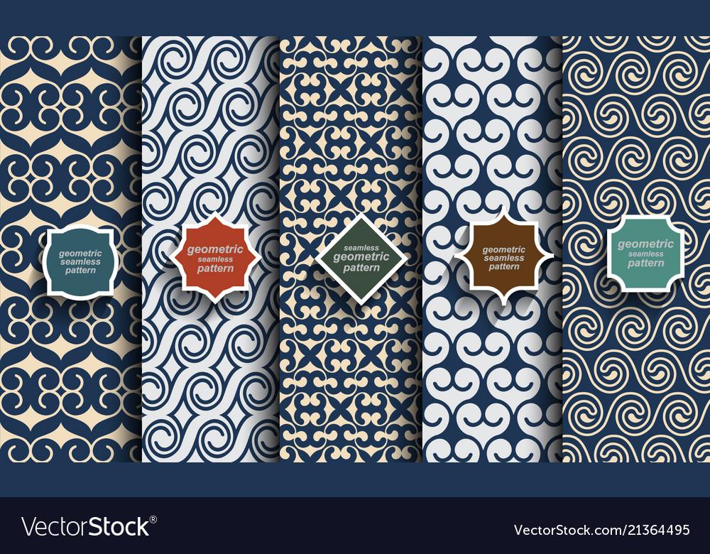 Retro blue color seamless patterns set vector image