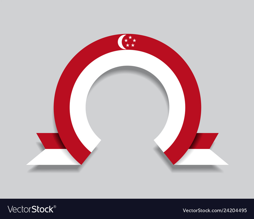 Singapore flag rounded abstract background