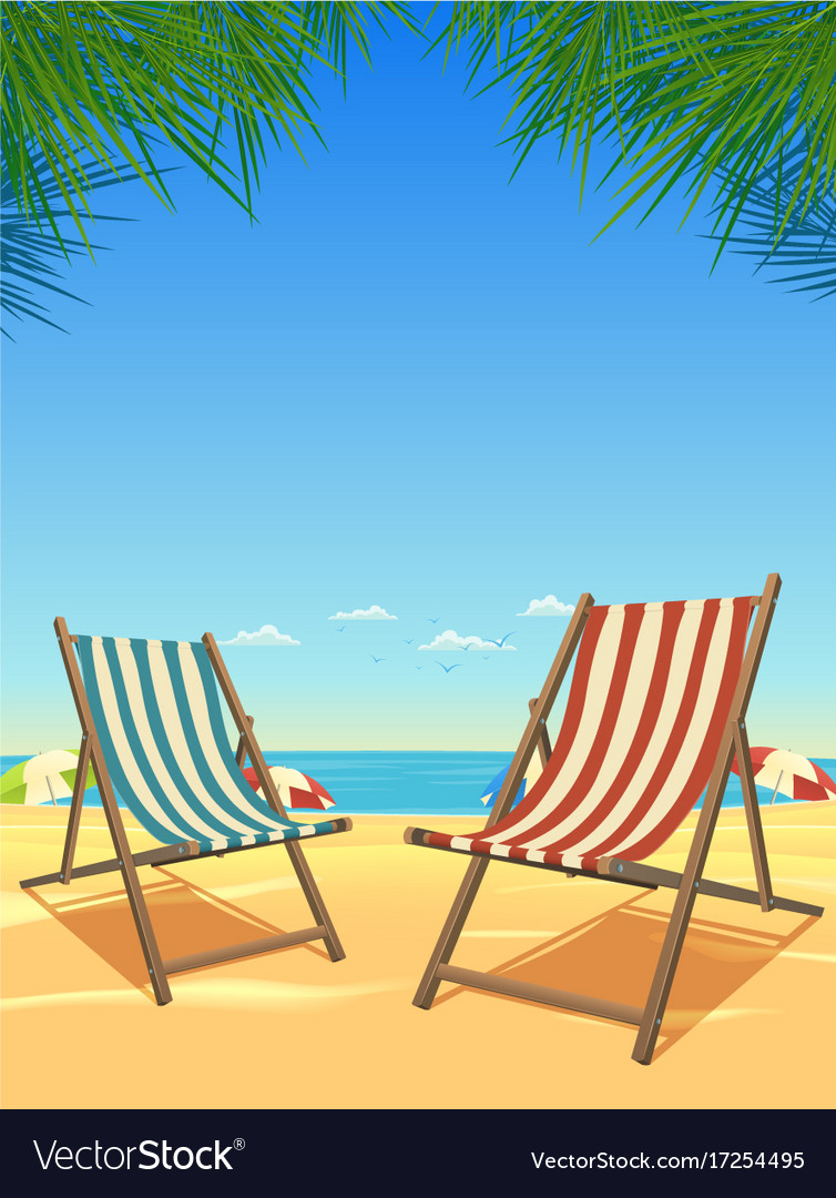 Summer beach and chairs background vector image  sc 1 st  VectorStock & Summer beach and chairs background Royalty Free Vector Image