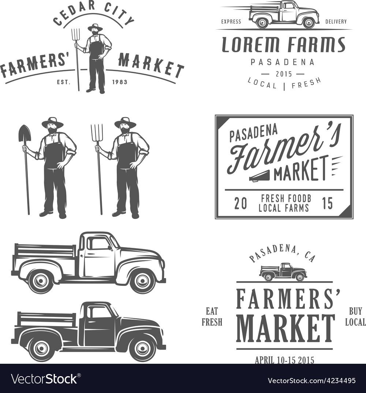 Vintage farming labels badges and design elements vector image