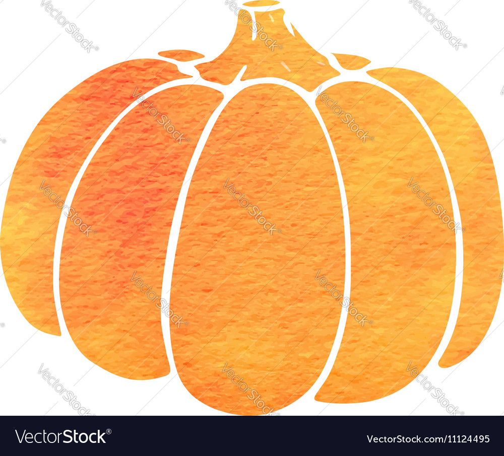 Watercolor silhouette of pumpkin