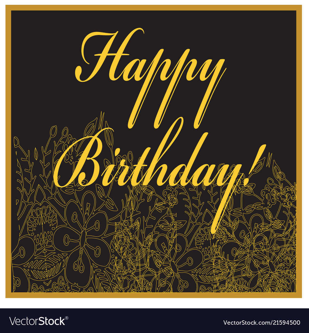 Birthday card with golden flowers and text