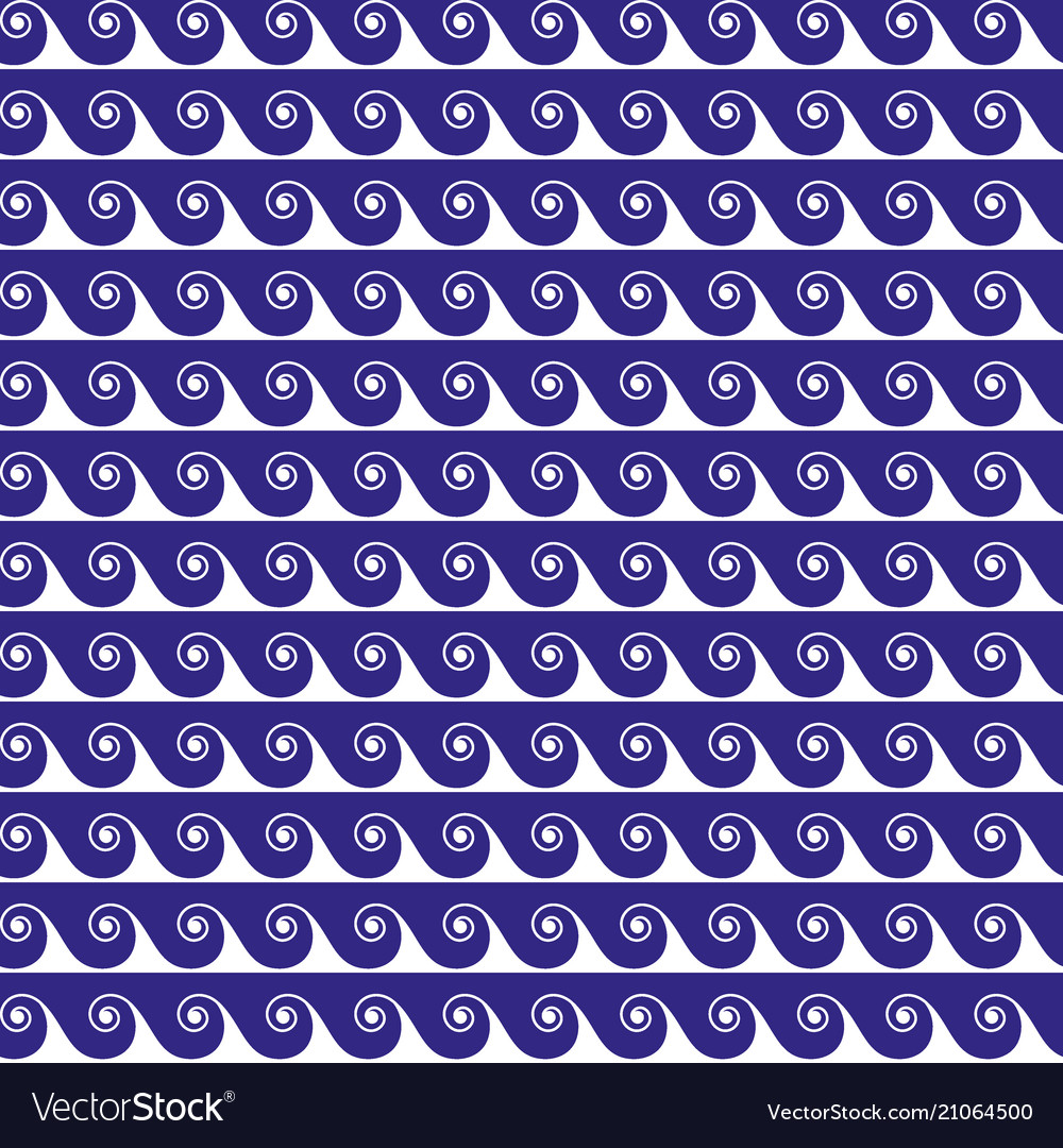 Blue waves lines seamless greek pattern