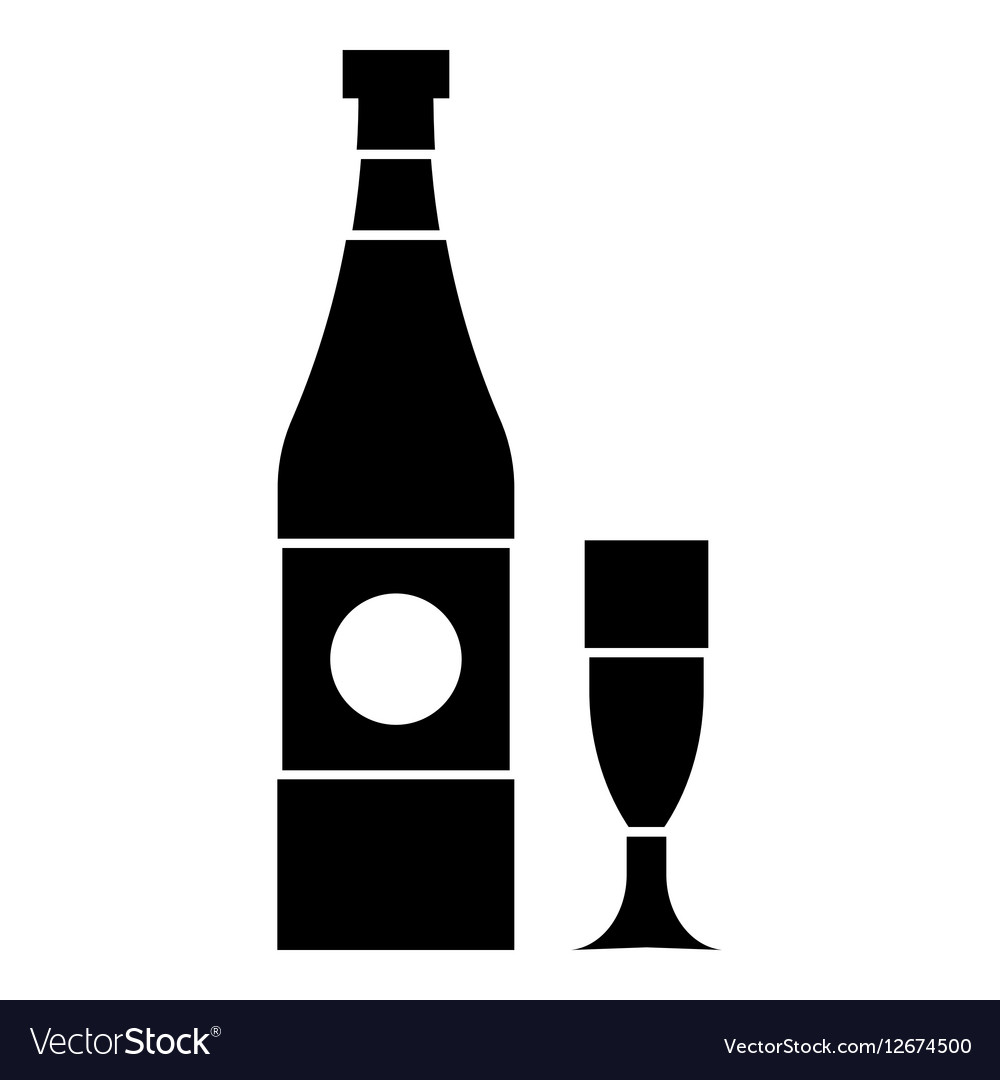Bottle and glass icon simple style