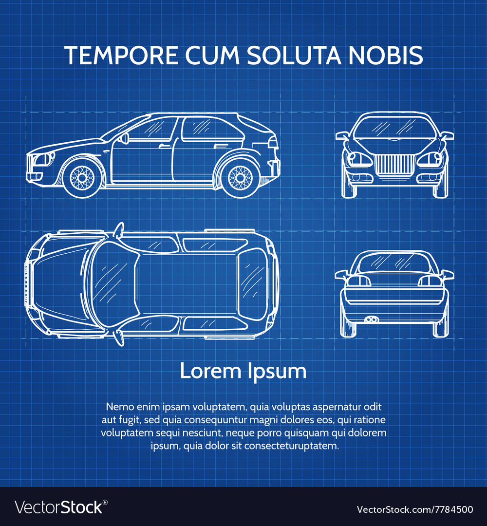 Car blueprint Royalty Free Vector Image - VectorStock