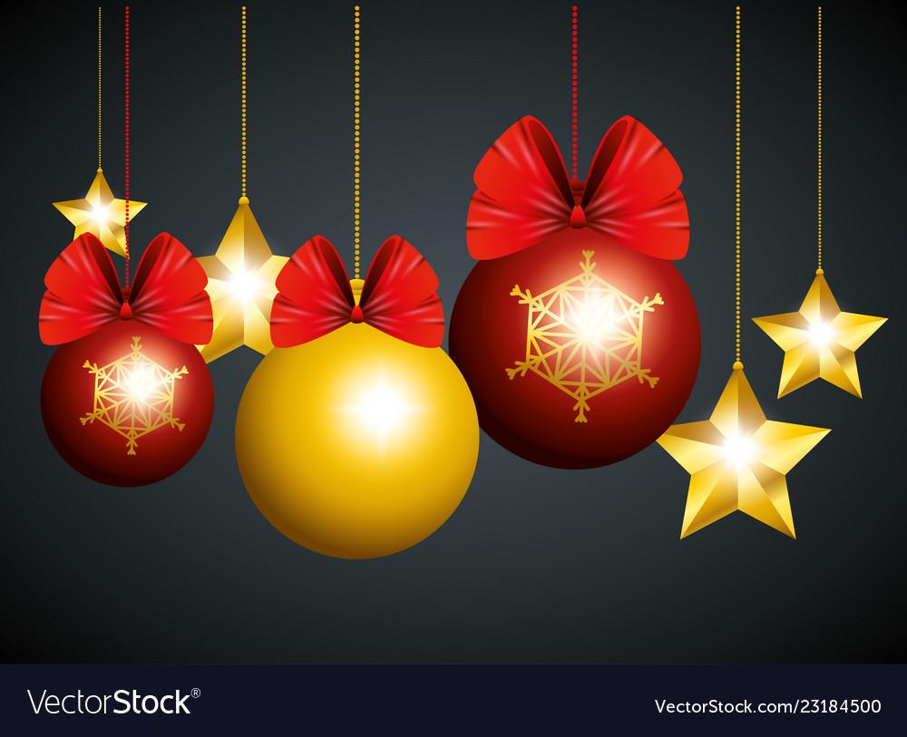 Christmas Balls And Stars Hanging Decoration To